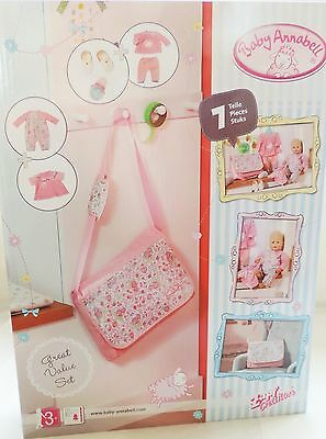 NEW Baby Annabell 3 OUTFITS & ACCESSORY Set - 7 PC - Bag, Bottle, Shoes & More