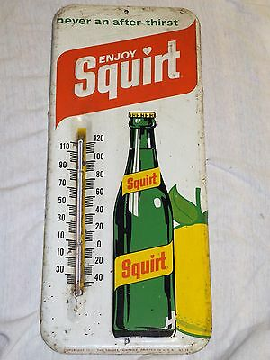 """Vintage SQUIRT SODA Sign THERMOMETER 1970s Store Display METAL Embossed 13-1/2"""""""