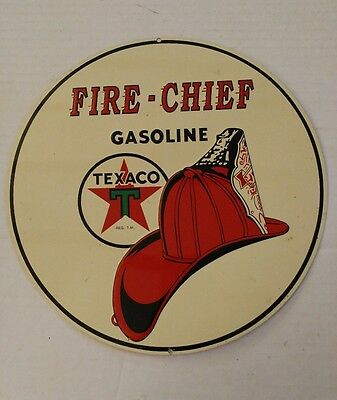 "Vintage 10.75"" Texaco Fire Chief Sign Embossed"
