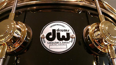 DW Drum Workshop Collectors 5.5x14 Black Nickel Over Brass Snare Drum Gold HW