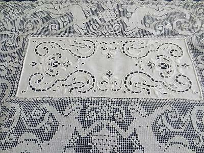 Antique Figural Filet Lace and Embroidery Fine Placemats Set