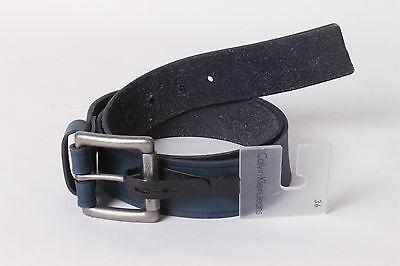 $45 Calvin Klein Men`s Leather Casual Belt 36 Blue NEW