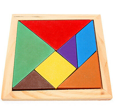 Good Wooden IQ Game Jigsaw Intelligent Tangram Brain Teaser Puzzle Baby Kid LC