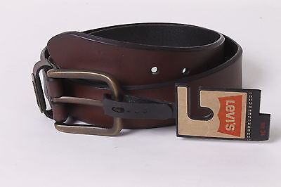 $35 Levi`s Men`s Leather Square Buckle Belt 34 Brown NEW
