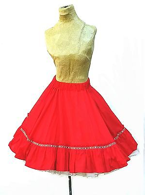 Vintage 1960s ROCKABILLY SKIRT Red Full Circle Skirts XS Small Knee length 50s