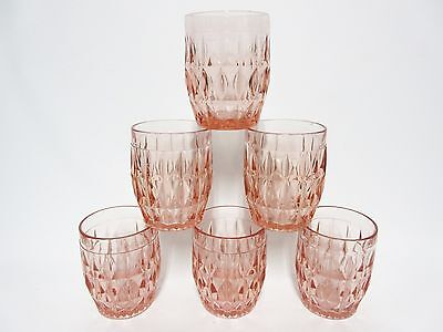 6 Pink Windsor Flat Water Tumblers / Jeannette Glass Co