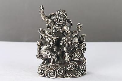 Chinese Antique cupronickel Hand-carved buddha Statue H1068
