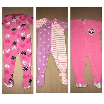 EUC lot of Baby Girl's pajamas pj's one-pieces outfit rompers size 12 months 12M