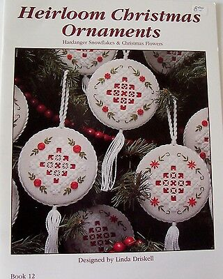 Heirloom Christmas ornaments hardanger pattern Driskell autographed inside