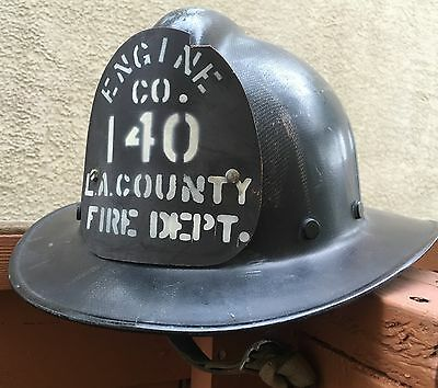 LOS ANGELES COUNTY FIRE DEPARMENT STATION 140 OLD 1950's  FIRE HELMET