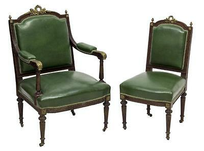 (2) LOUIS XVI STYLE BRASS MOUNTED PARLOR CHAIRS 19th Century ( 1800s )
