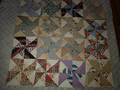 16  Single Vintage Quilt Blocks Nice  Hand Stitched Pin Wheel Pattern
