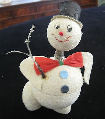 Vintage Dancing Christmas  Snowman Candy Container Nodder Marked Germany
