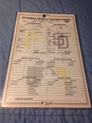 Game Used MLB Lineup Card Pittsburgh Pirates San Diego Padres 4/21/16