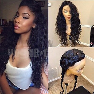 Indian Virgin Hair Straight Full Lace Human Hair Wig With Baby Hair Off Black US