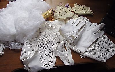 Lot Vintage Lace Trim & Gloves Crochet Dolls Quilts, Sewing Embroidering