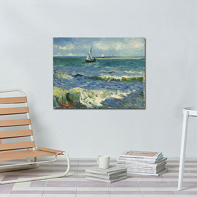 Seascape Sea Boat by Van Gogh Painting Canvas Print Home Wall Art Decor Framed