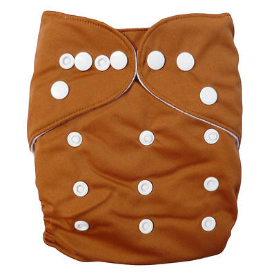 Brown 4Pcs Adjustable Reusable Baby Washable Cloth Diaper Nappies BRUS41