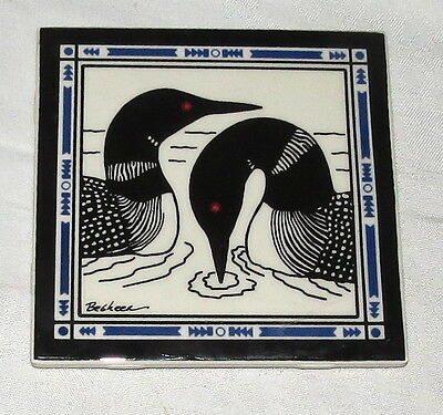 "Besheer Art Tile 6"" Square Common Loon Great Northern Diver Tile"