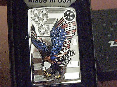 Zippo~#28449-Eagle on USA Flag Outstanding Colors!! New in Box Beauty! NOS! MIB!