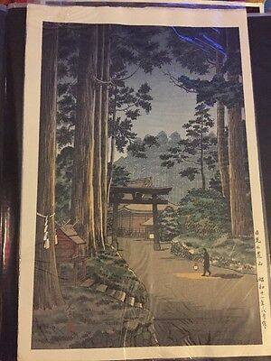 2) antique ORIGINAL STRIKE japanese woodblock MINT CONDITION tall trees w/temple