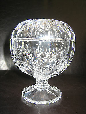 Vintage Cut Glass Lidded Bowl on Stand