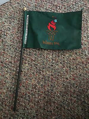 Small 1996  Atlanta Olympics Torch Flag - made in USA - Emerson