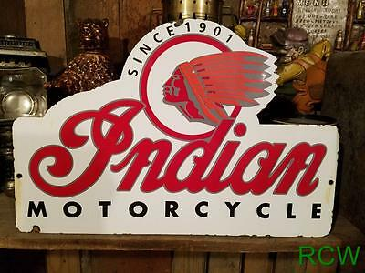 """Vintage INDIAN MOTORCYCLE """"SINCE 1901"""" Thick Porcelain Auto, Gas & Oil Sign"""