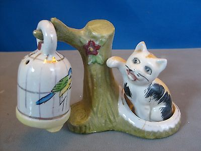 RARE 1930's CAT & CANARY Bird cage Tree Salt and Pepper Shakers set of 3. Japan