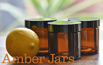 4 x 60ml Amber Glass Jars black Wadded Lid - FREE POST creams, candles, spices