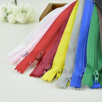 10 x Assorted Concealed Invisible Nylon Zips Sewing Closed End Zippers 22cm LE