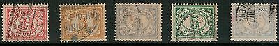 Lot 3796 - Netherlands Indies - 1912 Numeric selection of 5 used stamps