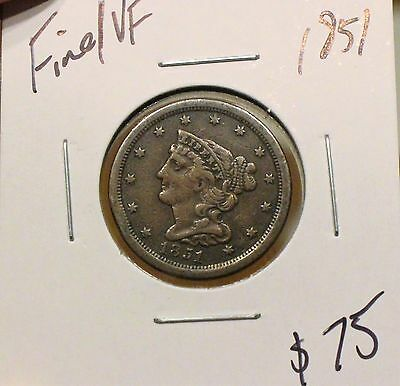 1851 1/2C Braided Hair Half Cent F/VF LOW MINTAGE SOLID DETAILS TOUGH FIND!!