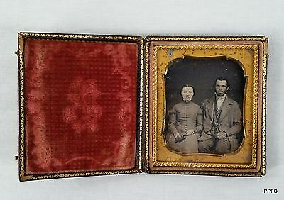 1/6 Plate Daguerreotype Photo Portrait of a Young Couple in Embossed Case 1850s