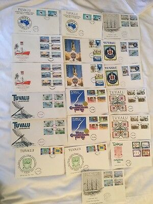 Tuvalu, Pacific, Bulk Lot of First Day Covers x 36 Stamps 1983-1986 Estate