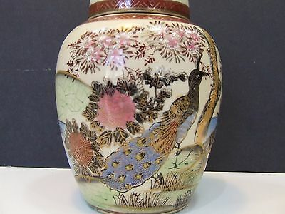 SATSUMA Japan Hand Painted Lidded Vase Urn Flower Pot Porcelain Pottery Antique