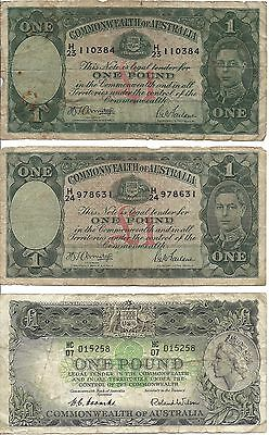 Lot of 3 Commonwealth of Australia 1£ Notes - 1938 to 1960