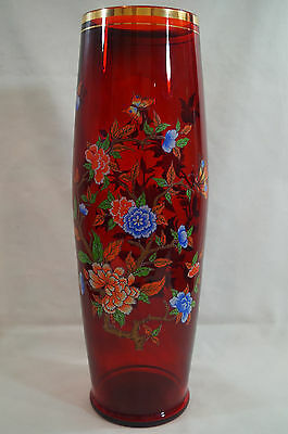 """Vtg Czech Bohemian Ruby Flash Glass 15"""" Vase With Enameled Floral & Butterflies"""