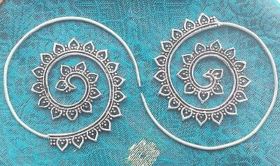 Silver Plated Tribal Heart Spiral  Earrings - Ethnic,Boho,Funky,Gypsy