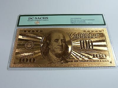24K Gold Limited Edition US $100.00 Banknote Bill DC SACHS * FREE US SHIPPING *