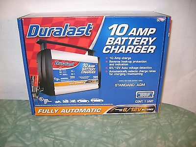 Duralast 10 Amp Battery Charger Reverse Hook Up 6V 12V Auto Select DL 10 NEW