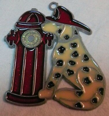Stained Glass Suncatcher Fire Hydrant And Dalmatian Dog Wearing Fireman Hat