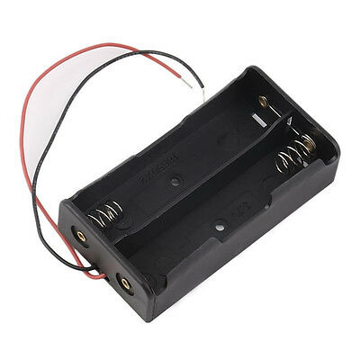 Plastic Battery Storage Case Box Holder For 2 x 18650 3.7V With Wire Leads AST
