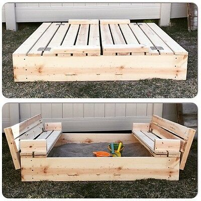 Kids Sandpit Outdoor wooden sandbox Canopy Bench Play Toy