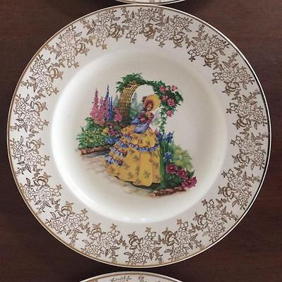 CRINOLINE LADY HANLEY ROYAL FALCON WARE 6 x DINNER PLATES 23CM REPLACEMENT CHINA