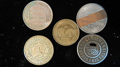 Lot of Five Vintage Northeastern United States Transportation Tokens (B)