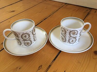 Wedgwood Susie Cooper Venetia C2039 signed backstamp cup and saucer - set of 2