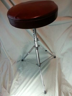 *Ludwig Drum Throne Vintage 60s Chrome Red Seat Chair Set Adjustable Height*