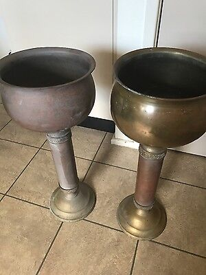 Pair Of Beautiful Antique Brass/copper? Planter Stand