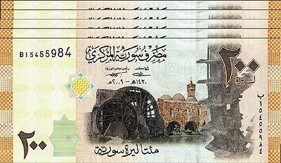 Syria 200 Pounds 2009 Unc 5 Pcs Consecutive Lot  P.114